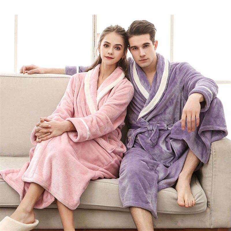 روب حمام طويل من الفلانيل ، دافئ للغاية ، مقاس كبير ، للعروس ، لون وردي ، ملابس نوم ، للرجال والنساء