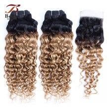 Mèches brésiliennes non-remy naturelles-Bobbi Collection   Cheveux ondulés, ombré blond miel 1B 27, racine foncée, avec Closure, pré-colorés
