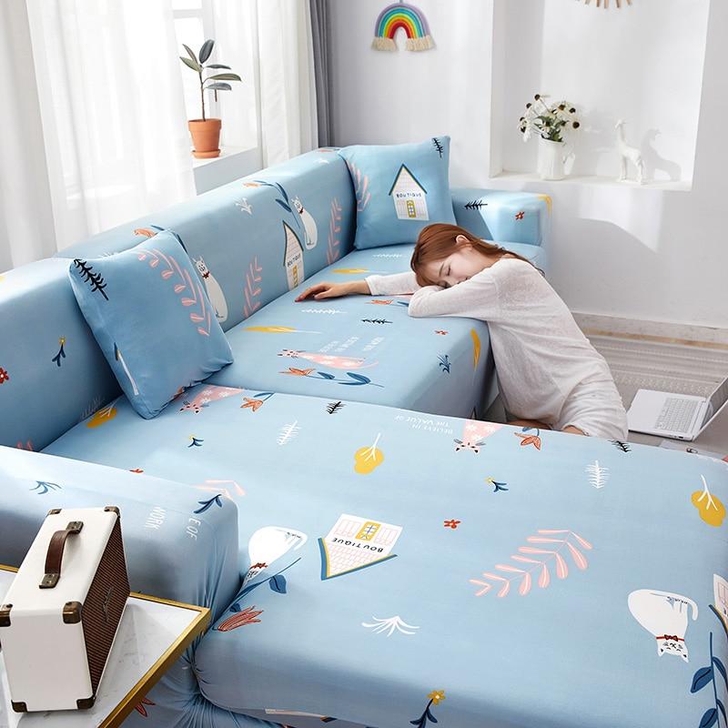 Fundas sofá elásticas azules bonitas para sala de estar protectores de decoración individual/dos/tres/cuatro asientos