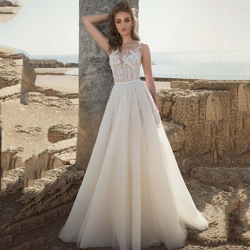 Vestidos de novia de encaje de línea A Boho con apliques de cuello en V vestidos de novia 2020 V