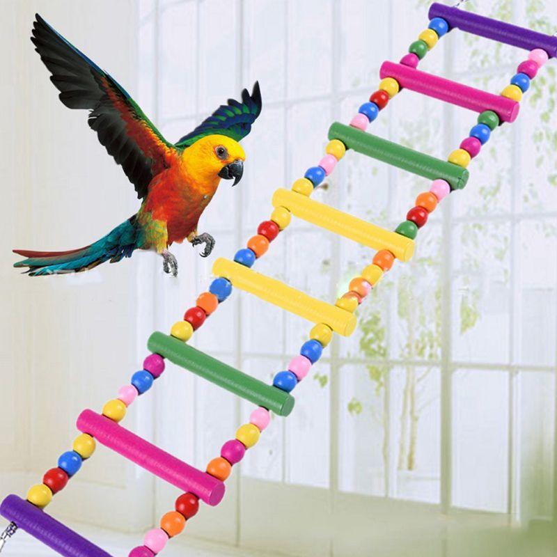 Colorido pájaro de madera pollos escalera Flexible divertido puente de escalada columpio jaula loro mascota juguete instalación Simple ganado mascota