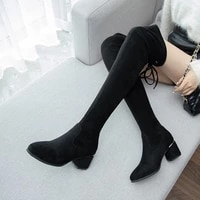 2020 fashion ins high boots woman knights knee boots thicken plush women winter shoes british style block heel lace up footware