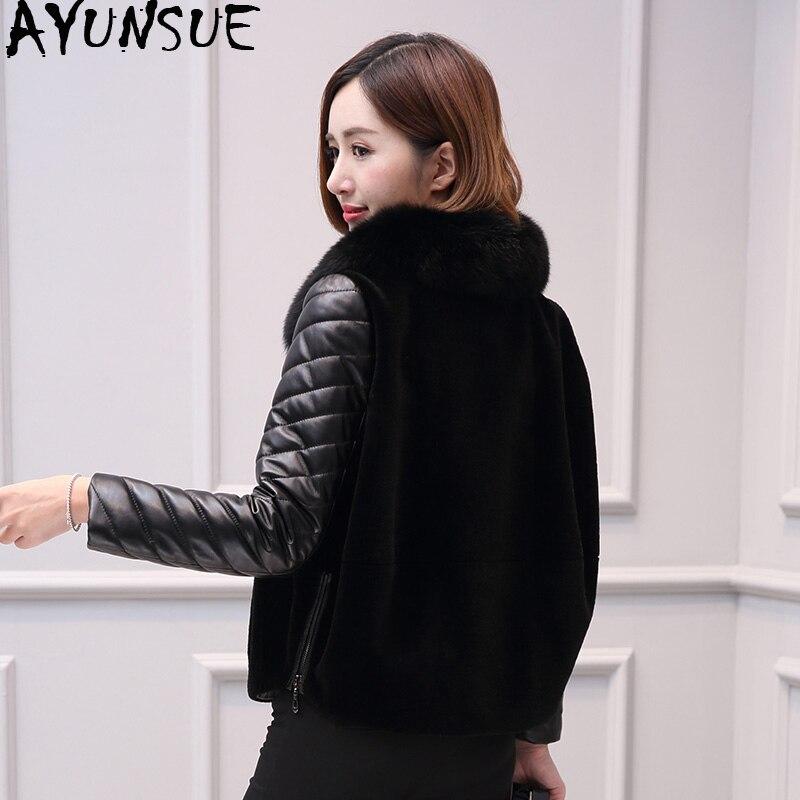 AYUNSUE-معطف من جلد الغنم الأصلي ، معطف شتوي نسائي من جلد الثعلب ، ياقة كورية ، MY3962