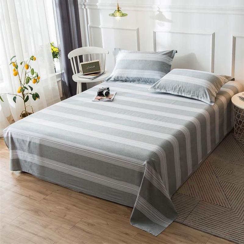 Juegos de sábanas planas a rayas de Gris Moderno, ropa de cama de tela de algodón de 100%, ropa de cama de 120*230cm,160*230cm,180*130cm,200*230cm,230*250cm
