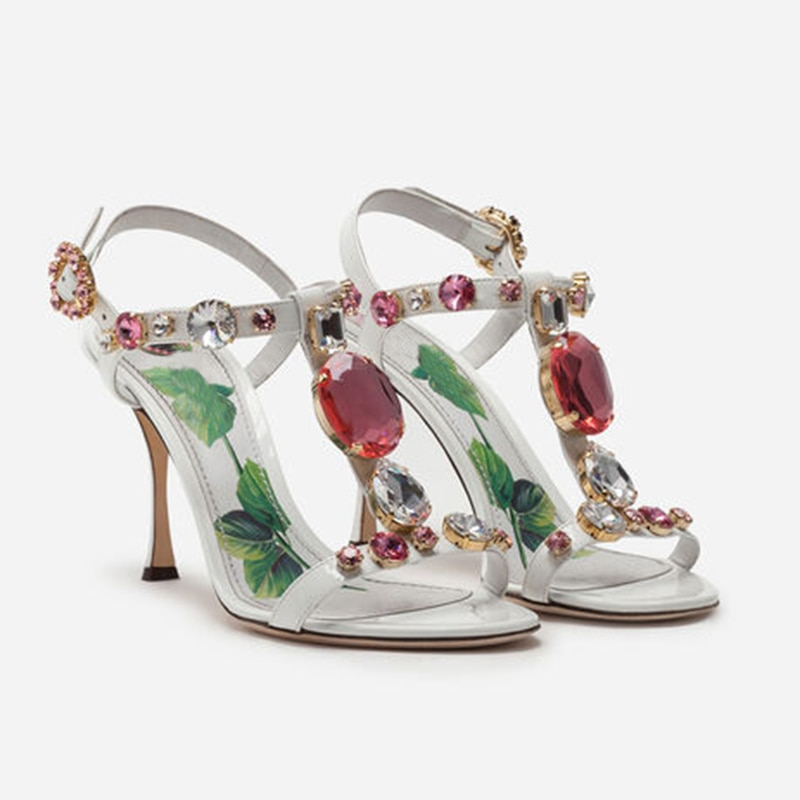 Prowow chunky high heels Sandals Woman Rhinestone T Strap Rome Sandals Summer Luxury Crystal Party Shoes Women
