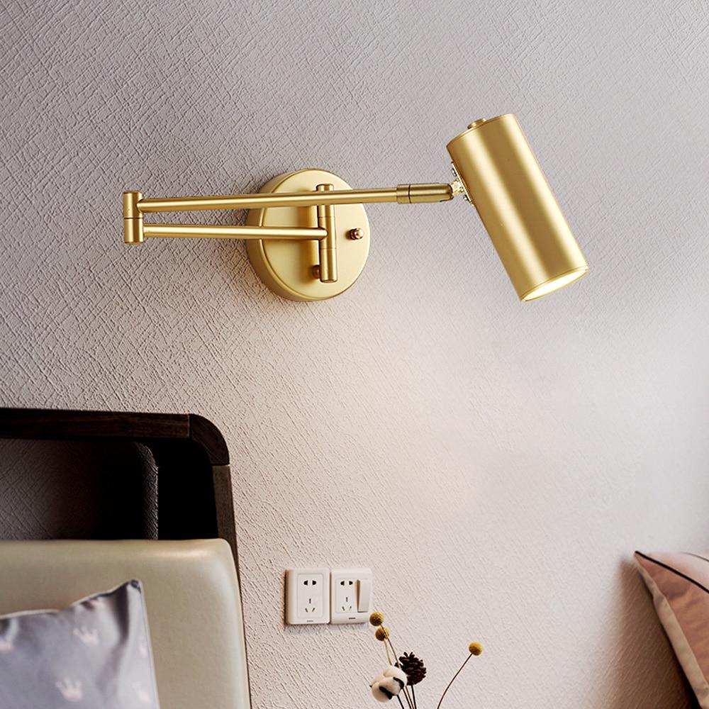 Zerouno وحدة إضاءة LED جداريّة مصابيح طويلة سوينغ الذراع الذهب داخلي نوم ليلة القراءة كتاب ضوء يندبروف مصباح السرير ديكور المنزل الداخلية جبل