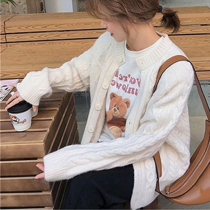 Однотонный белый свитер WAYOFLOVE, кардиган, Женский Повседневный вязаный однобортный свитер с узором ромбиками, кардиган, Женский винтажный св...