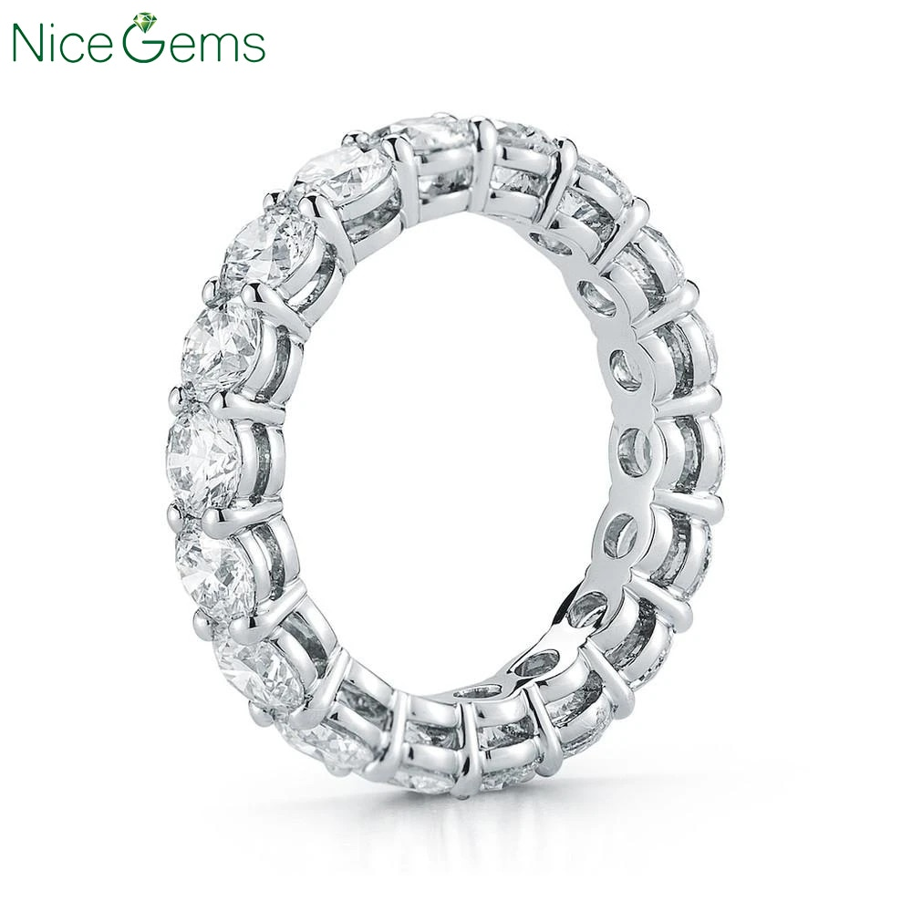 NiceGems 14K oro blanco 585 Moissnite la eternidad Banda 3mm/3,5mm/4mm/5mm brillante redondo MoissaniteWedding anillo boda banda