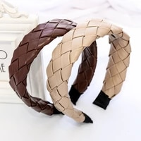 hot selling new fashion hairband plain color pu leather headband wide cross braided headbands for women hair accessories