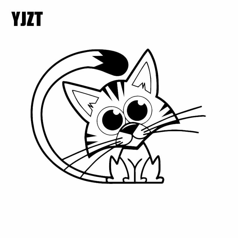 YJZT 15,9X12,3 CM Lustige Auto Aufkleber Traurig Katze Nette Tier Pet Kätzchen Vinyl Aufkleber Schwarz/Silber C24-1854