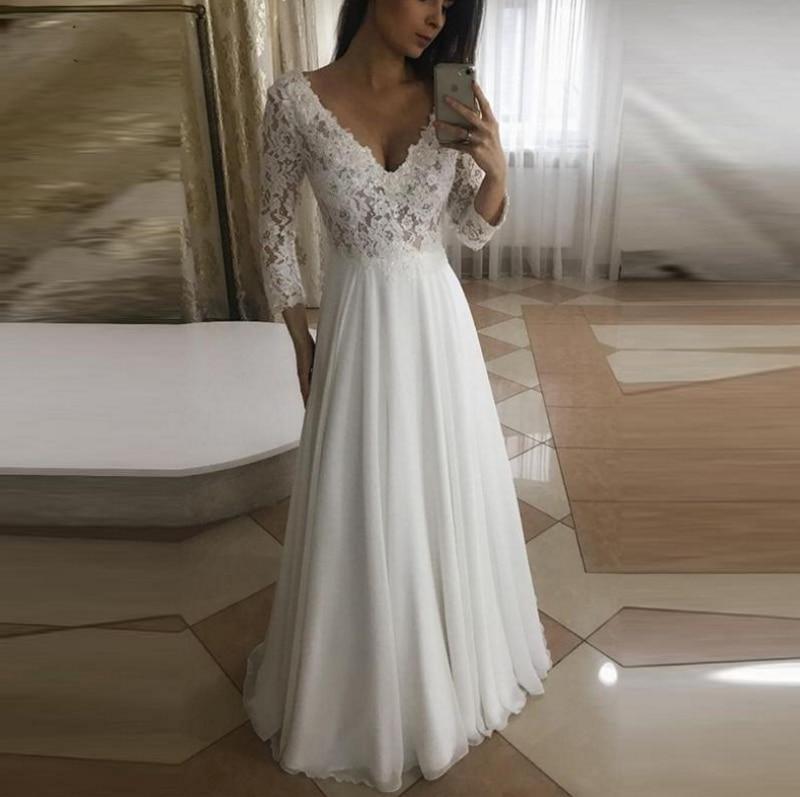 Precioso vestido De Novia De manga larga con cuello en V, cola...