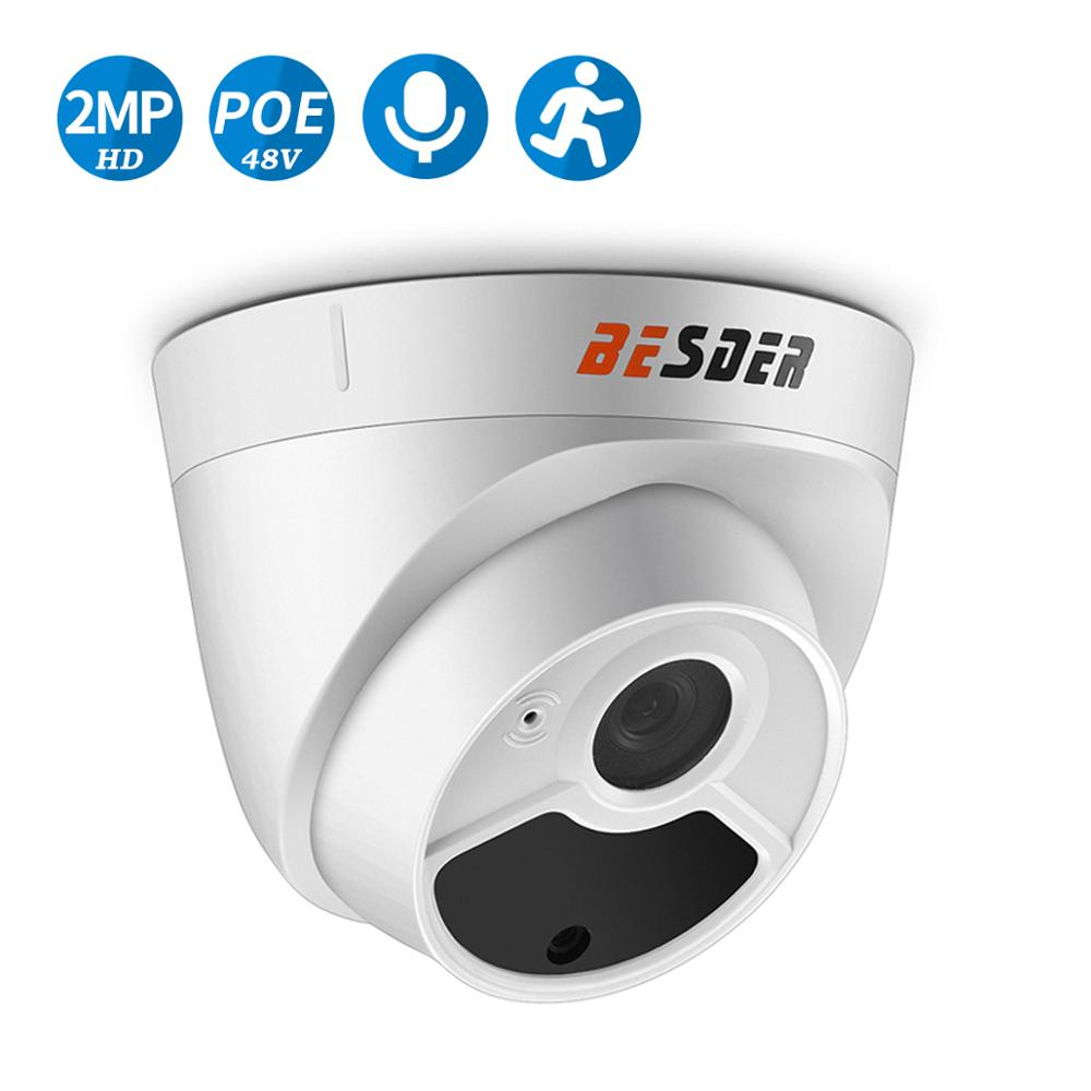 BESDER كامل HD 1080P كاميرا الأمن كاميرا صغيرة على شكل قبة للباب IP الصوت مع ميكروفون داخلي 48 فولت PoE P2P البريد الإلكتروني كشف الحركة