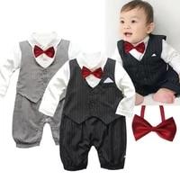 2021 new gentleman bow tie striped bowtie baby boys rompers tuxedo 2 colors