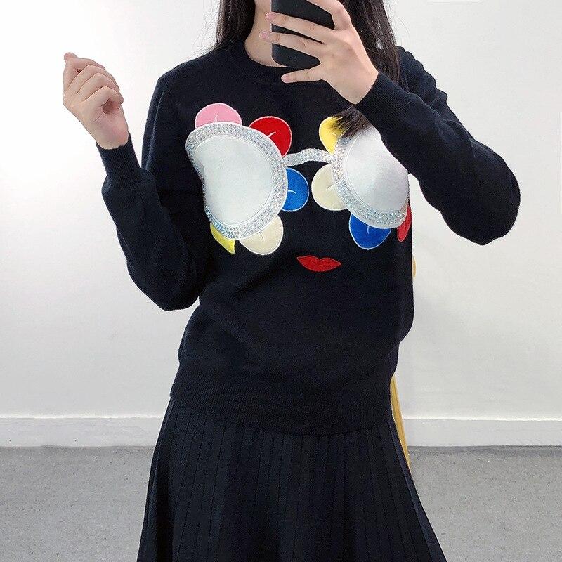 تصميم زهرة نظارات سترة المرأة موضة الخريف والشتاء نمط جديد سترة قاع قميص قمة الموضة
