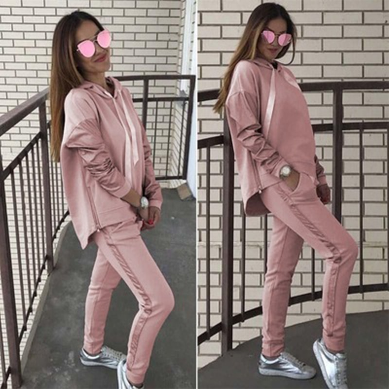 traf 2021yk2 autumn winter hot sale casual loose stitching hooded loose hoodie suit women maje ensemble femme jogging femme pull