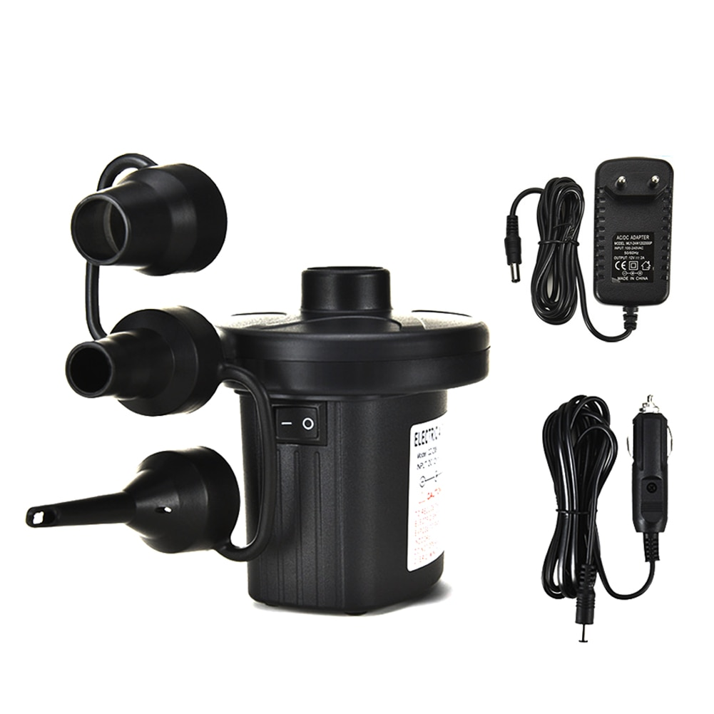 Electric Air Pump Quick Fill Kayak Pump with 3 Nozzles for Air Mattresses Boats Swimming Ring Airbeds Inflatables Black