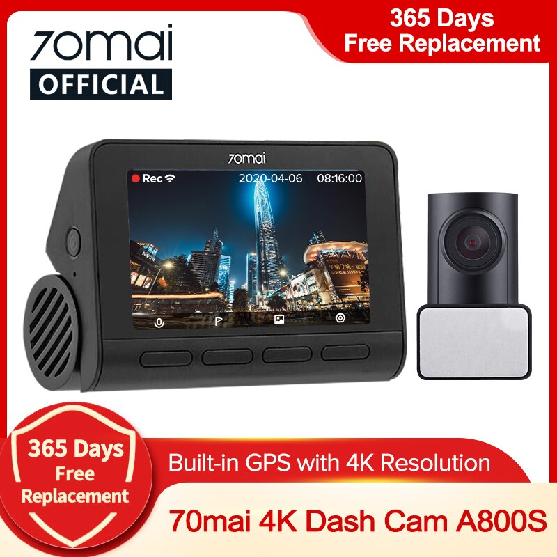 70mai A800S اندفاعة كام 4K المدمج في نظام تحديد المواقع ADAS ريال 70mai 4K A800 كاميرا UHD سينما-جودة صورة 24H وقوف السيارات الأمامي والخلفي كام 140FOV