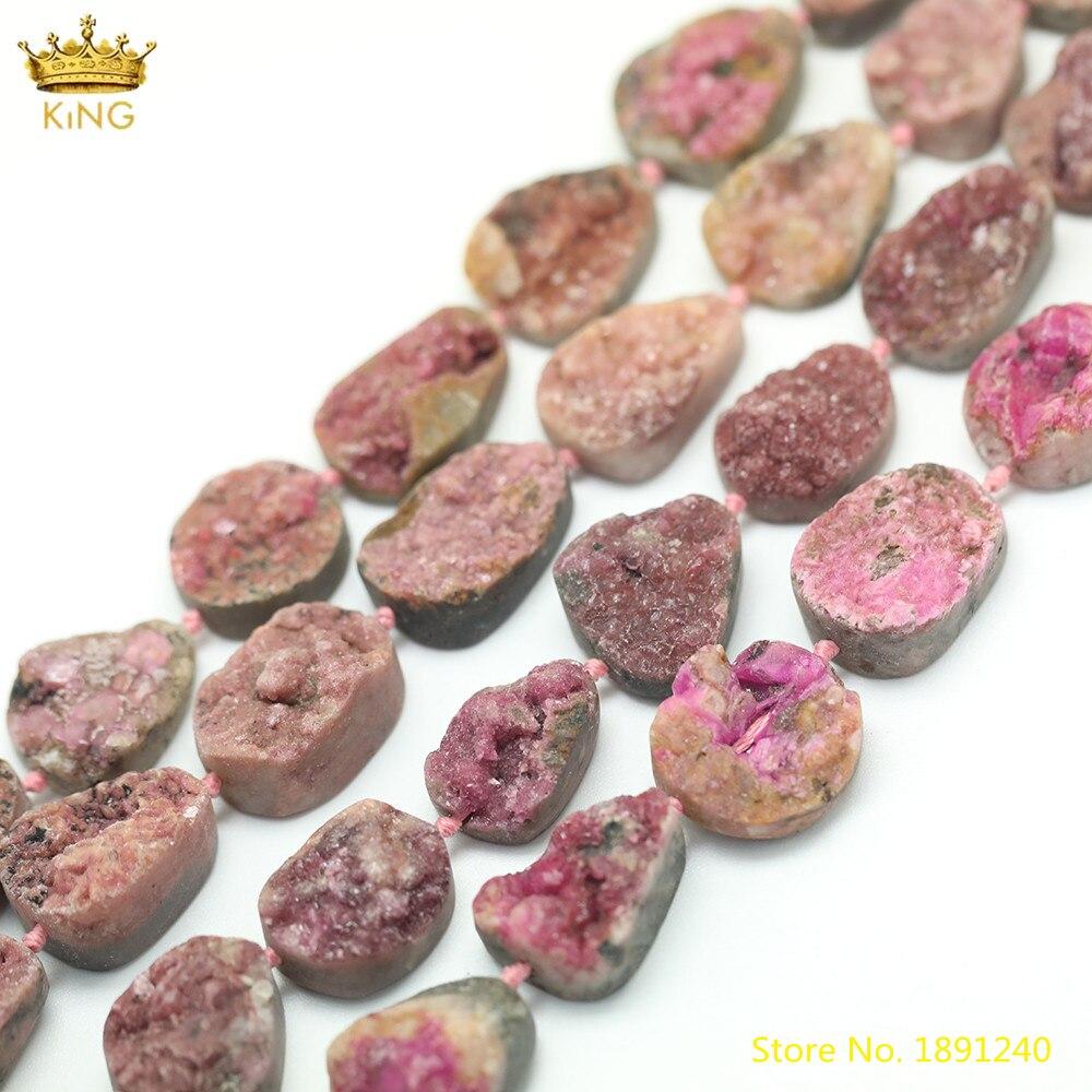 15,5 pulgadas/hilo Natural Druzy rosas rosa cuarzo losa cuentas sueltas, cuentas irregulares perforadas de en medio