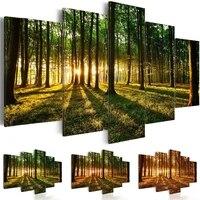 Art mural moderne 5 pieces foret toile peinture moderne arbre impression photo paysage naturel decor a la maison affiche mode