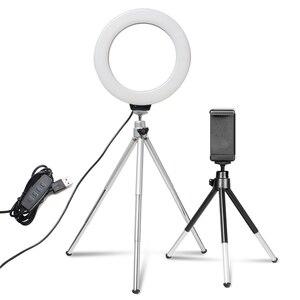 6-дюймовый мини-светильник для селфи, Настольная светодиодная лампа, светильник для видеосъемки со штативом и клипсой для телефона, для фото...