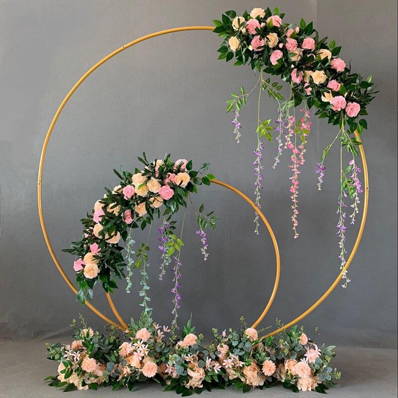 Iron Circle Wedding Arch Background Props Birthday Party Baby Shower Supplies Round Background Frame Flower Stand