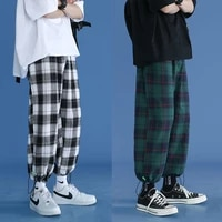 trendy plaid streetwear pants mens 2021 new comfortable pant summer loose comfortable casual all match korean joggers trousers