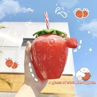 water bottle summer cartoon kawaii strawberry straw cup plastic cup lovely girl milk tea coffee cup student portable water cup