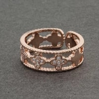 fine jewelry natural zircon crystal flower rings for women 585 rose gold fine hollow ethnic wedding ring vintage jewelry