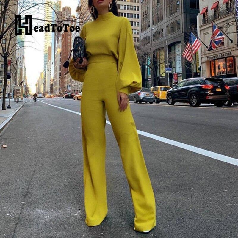 Sólido elegante mock neck manga longa magro ajuste macacão feminino corte para trás casual macacão de uma peça macacões