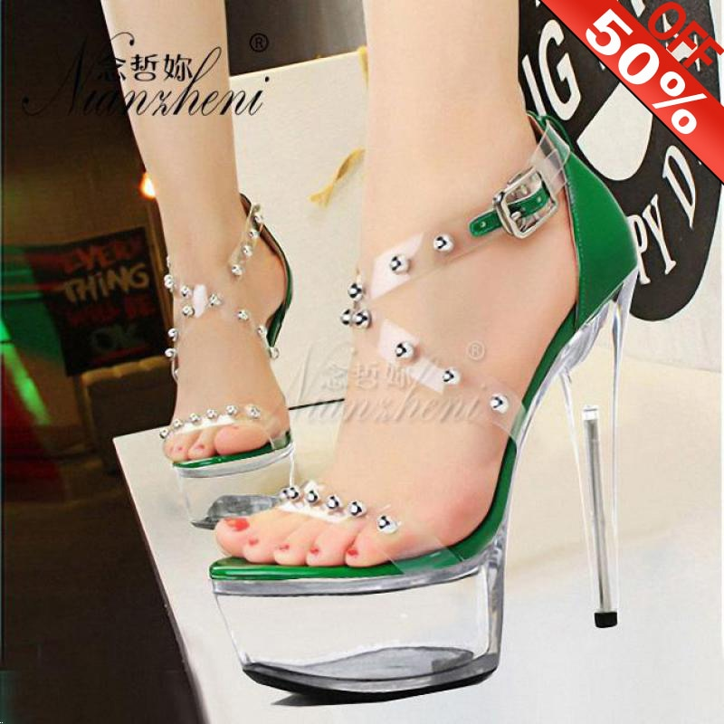 15 cm mujer verano plataforma Stilettos de cristal sandalias vestido para Pole Dance modelo noche zapatos de gladiador de 6 pulgadas Sexy remache zapatos de tacón alto