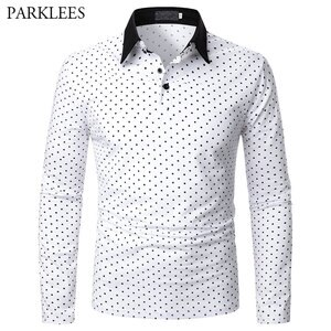 Polka Dot Polo Shirt Men 2021 Brand New Mens Polo Homme Casual Slim Fit Long Sleeve Camisas de Hombre T Shirt for Men Male Tops