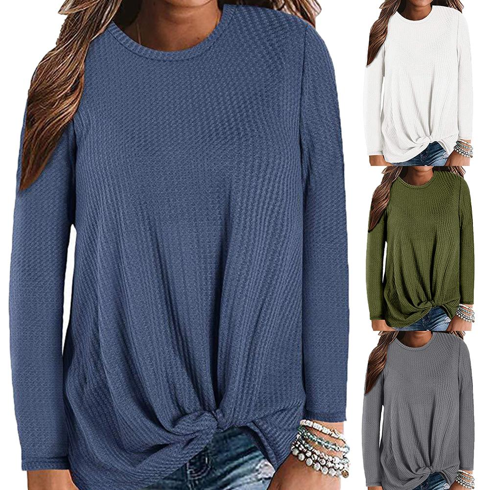 Plus Size Chic Lady Solid Color O Neck Long Sleeve Knotted Knitted Sweater Top