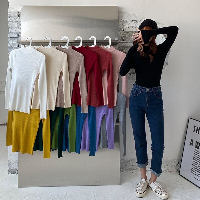 Women's Sweaters Female 2020 Autumn Winter Turtleneck Christmas   Oversize Y2k Tops Korean Undefined Fashion Vest Warm Blouses enlarge