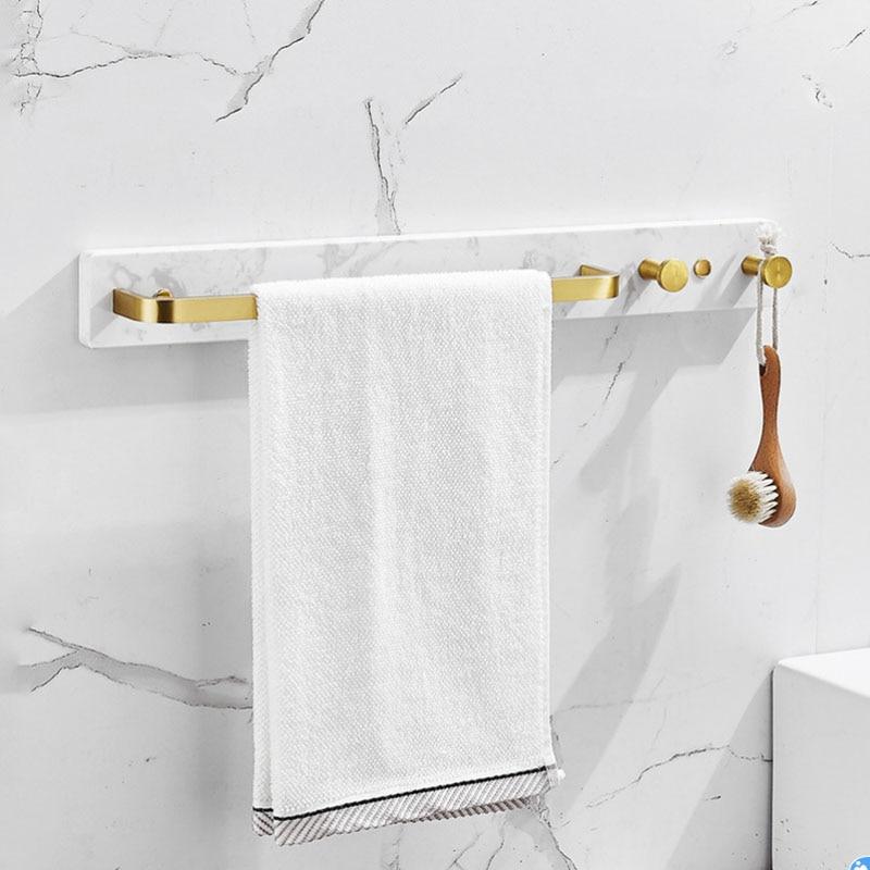 رف مناشف 50 سنتيمتر ، سبائك الألومنيوم الذهبية والرخام ، مثبتة على الحائط ، مع خطافات ، إكسسوارات أجهزة الحمام ، رف تعليق الملابس
