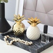 Decoración creativa de cerámica piña dorada para el hogar de estilo nórdico ins, decoración moderna para el salón, decoración del gabinete del vino