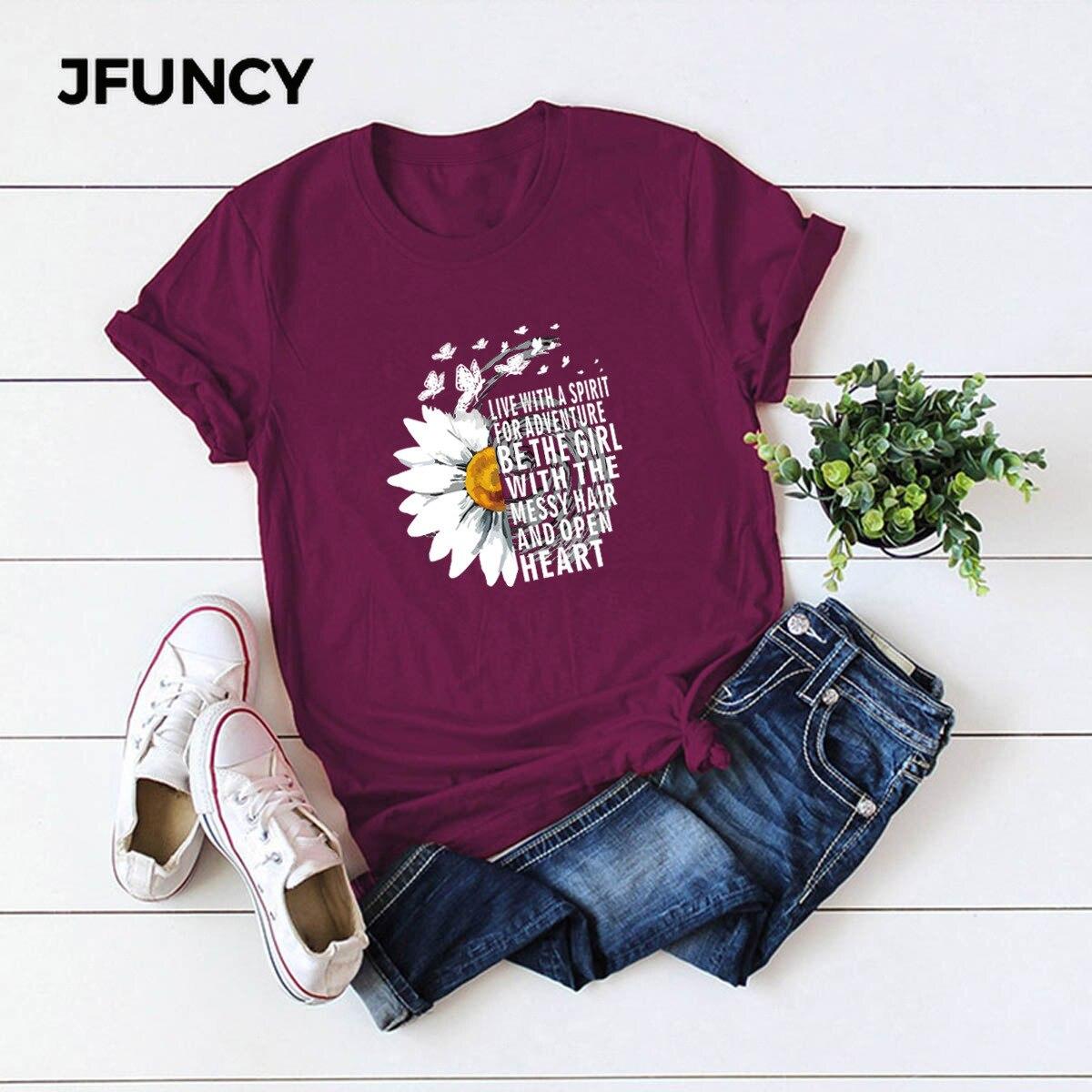 JFUNCY 2020 nuevas camisetas de algodón de verano para Mujer, camisetas creativas con estampado de letras inspiradoras de crisantemo, camisetas de talla grande para Mujer