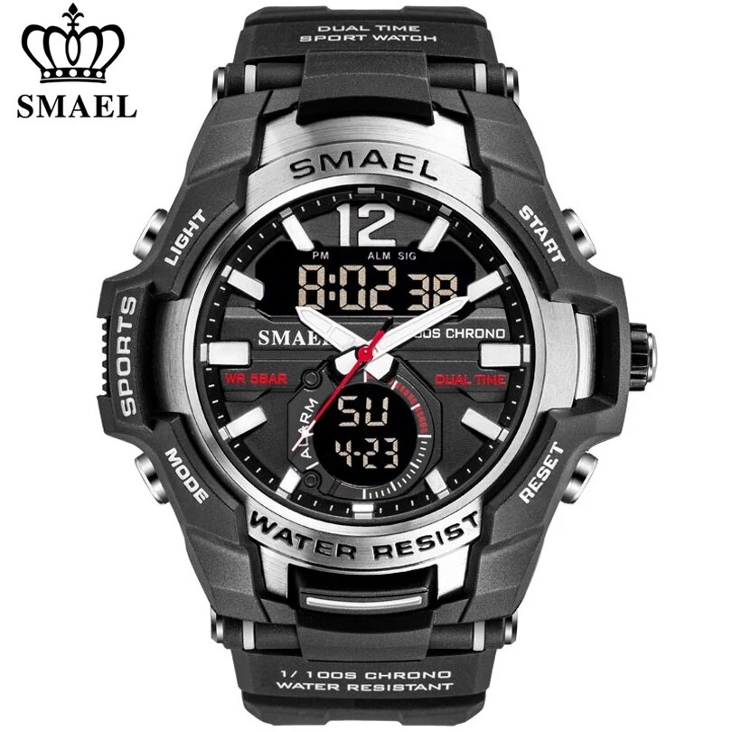SMAEL 2021 Men Watches Fashion Sport Super Cool Quartz LED Digital Watch 50M Waterproof Wristwatch Men's Clock Relogio Masculino