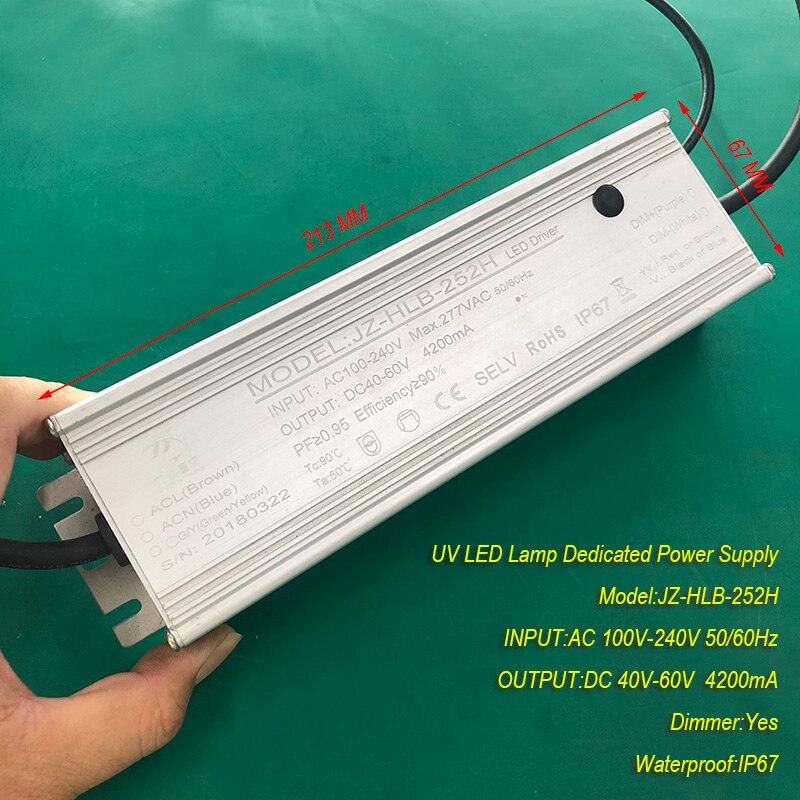 Fuente de corriente constante a prueba de agua 4.2A 250W IP67 para lámparas de curado de gel de módulo LED UV entrada AC 100V-240V Salida DC 40V-60V 4200mA