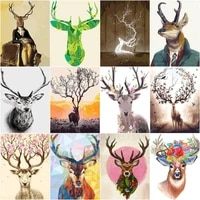 gatyztory deer head animal diy 40x50cm digital painting by numbers modern wall art canvas painting unique gift home decor