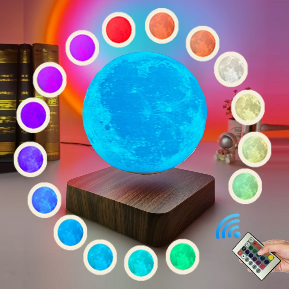 Maglev 3D Printed Moon Lamp New 16Colors Floating Moon With Remote Home Office Decorations Table Lamp Night Light Creative Gifts