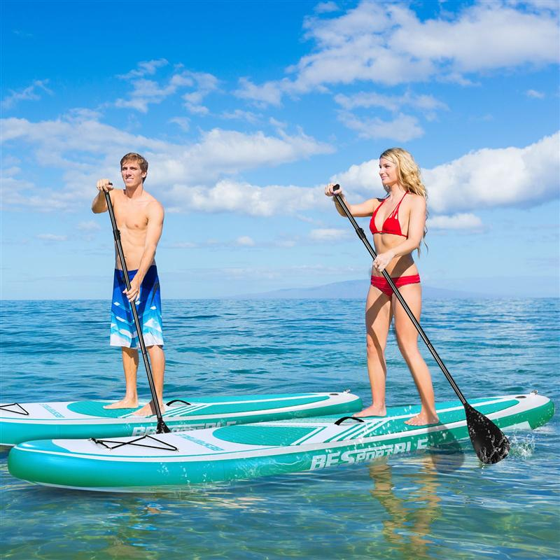 Inflatable Stand Up Paddle Board W Free Premium & Backpack, Non-Slip Deck. Bonus Waterproof Bag, Leash, Paddle and Hand Pump
