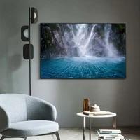 Toile de peinture a lhuile  paysage de foret  cascade blanche  riviere  art  salon  couloir  bureau  decoration murale de la maison