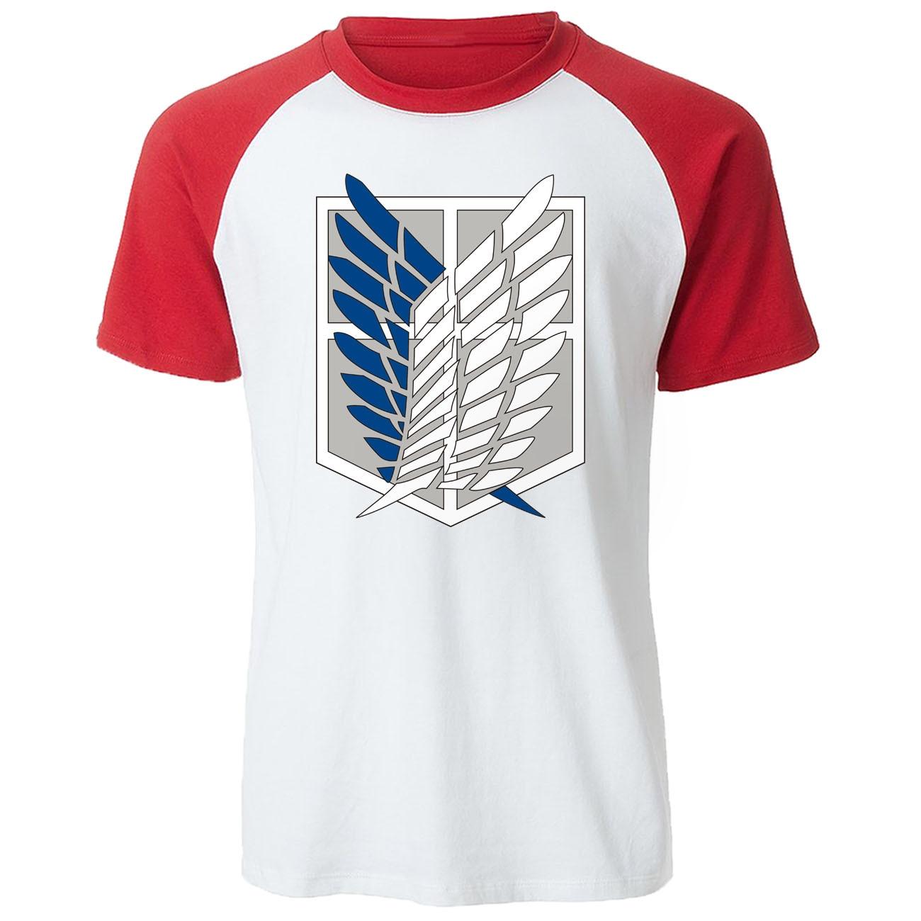 Wings Of Freedom Mikasa camisetas para hombre, camiseta de Anime japonés, camiseta de manga corta raglán para hombre, camisetas de verano ataque a los Titanes, camiseta para hombre