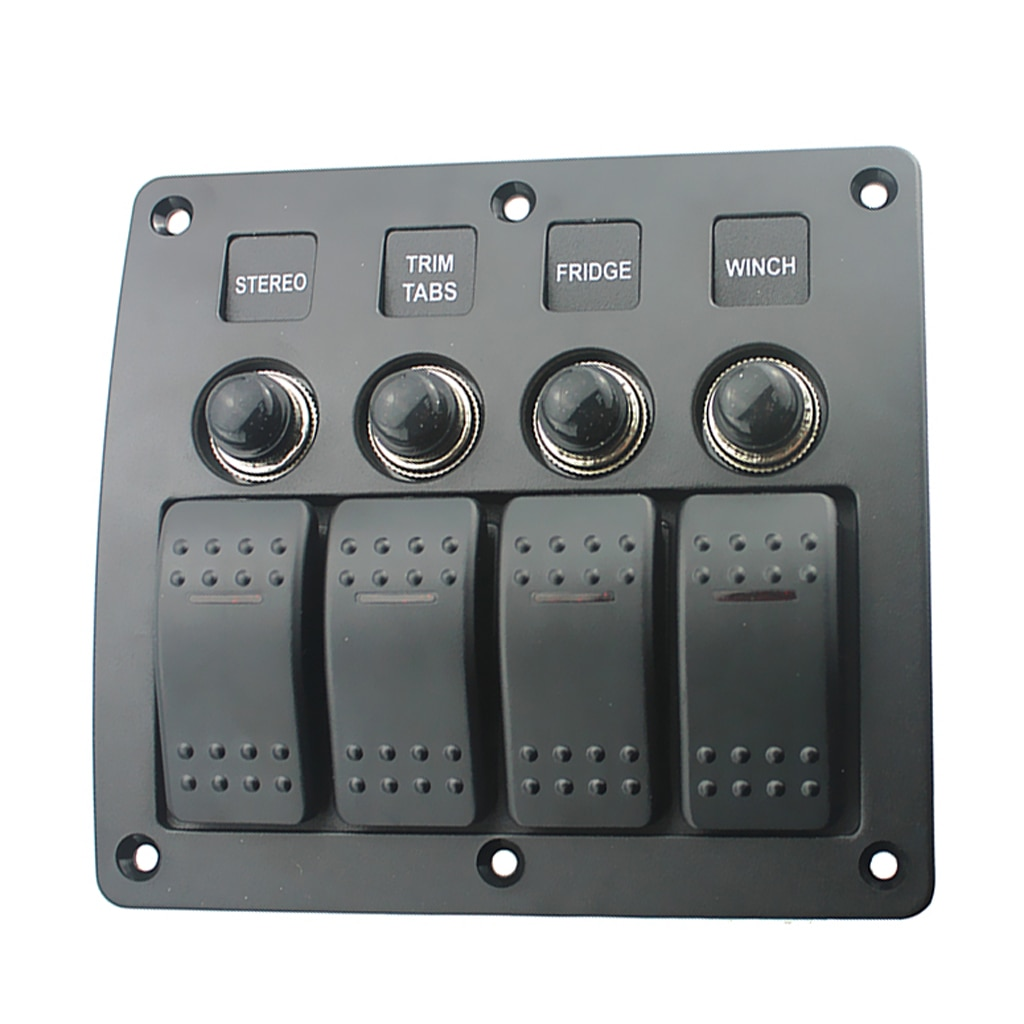 Waterproof 4-Gang Rocker Switch Panel On/Off Control Over Load Protection