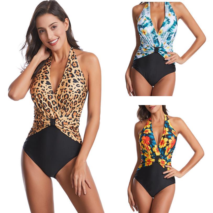 النساء ملابس السباحة مثير ثوب سباحة مثير الإناث الشاطئ مفتوحة الظهر عالية الخصر ليوبارد تصفح الأزهار قطعة واحدة مجموعة مثلث حمام نمط