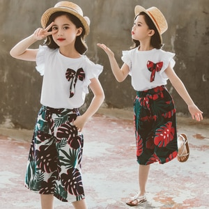 2021 summer Children Girls clothes Short Sleeve Outfits Bow Tops + loose leaf beachshorts Pants Kids 5 6 7 8 10 11 12 13 15 year