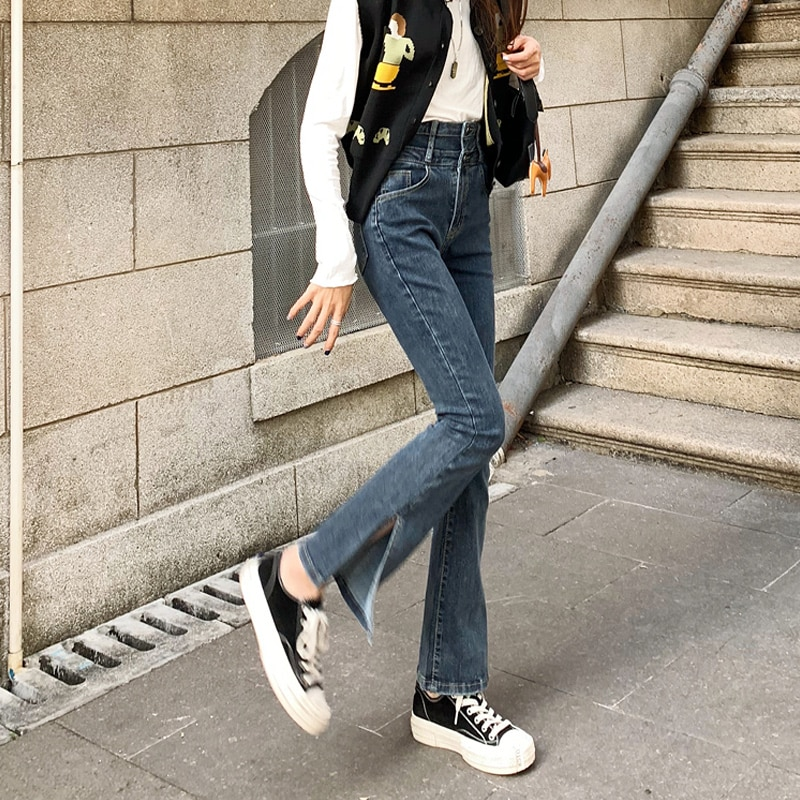 2021 Spring Women's Clothes Split Jeans Women's Straight Loose Small 150 Pants Trendy Ins Slit Bell-