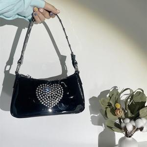 Fashion PU Patent Leather Women diamond Handbags Simple Ladies Baguette Shoulder Bags Luxury Design Female Armpit Bag Tote