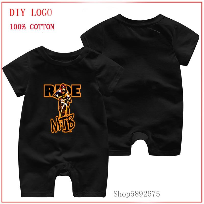 Ropa de bebé de algodón puro para 100%, ropa de manga corta para montar en bicicleta de montaña en descenso, camiseta de MTB, Pelele de bebé de escalada para Recién Nacido vectorizado