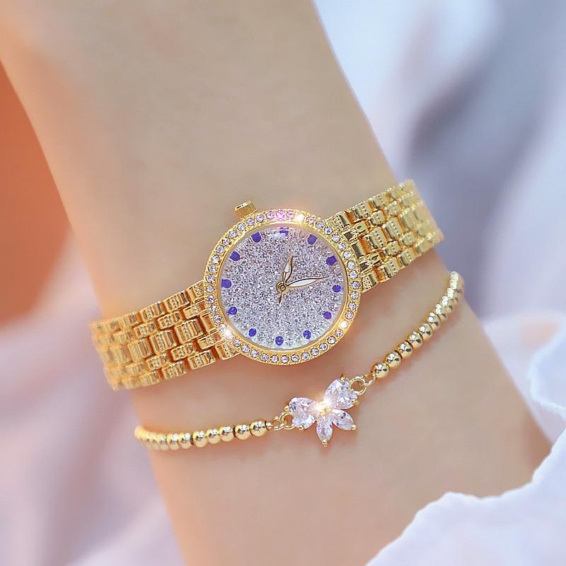Rose Gold Ladies Watch Full Diamond Small Silver Womens Watch Bracelet Girl Wristwatch Waterproof  Luxury Designer Whatch 2020